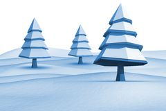 Fir trees on snowy landscape. On white background Stock Photo