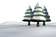 Fir trees on snowy landscape. On white background Stock Images