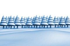Fir trees on snowy landscape Stock Photos