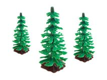 Fir Trees. Toy fir trees isolated against a white background Royalty Free Stock Photography