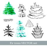 Fir trees vector set Royalty Free Stock Images