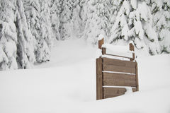 Free Fir Trees With Snow And Sign On Right Royalty Free Stock Photography - 23226277