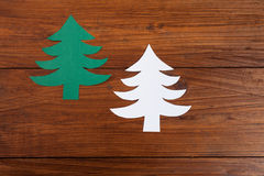 Fir trees on wood, copy space Stock Photography
