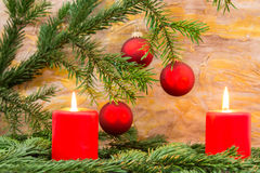 Fir twig and candle Stock Photography