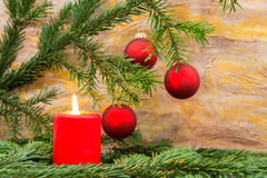 Fir twig and candle Royalty Free Stock Photography