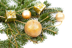 Fir twig with Christmas decoration Royalty Free Stock Image
