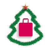 Fir Twigs Christmas Tree Shopping Bag Sale Royalty Free Stock Photos