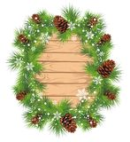 Fir wreath background. Christmas background with wreath from fir branches and pine cone Stock Photo