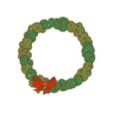 Fir wreath. A hand-drawn wreath of fir with some berries and a red ribbon Stock Image