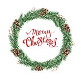 Fir wreath with merry christmas. Watercolor Christmas wreath of fir branches and cones on a white background with hand-drawn lettering Merry Christmas Stock Photos