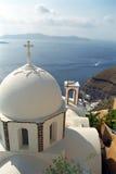 Fira圣托里尼海岛,希腊 库存照片