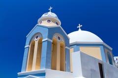 Fira城镇教会Santorini海岛的 免版税库存照片