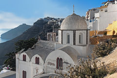 Fira的, Santorini Fira教会 库存照片