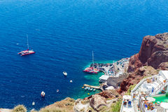 Fira镇-圣托里尼海岛,克利特,希腊看法。 免版税图库摄影