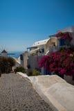 Fira镇-圣托里尼海岛,克利特,希腊看法 导致下来与清楚的蓝天的美丽的海湾的白色具体楼梯和 免版税库存照片