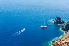 Fira镇-圣托里尼海岛,克利特,希腊看法  免版税库存图片