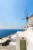 Fira镇-圣托里尼海岛,克利特,希腊看法 库存照片