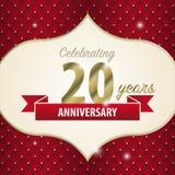 Fira 20 år årsdag guld- stil vektor royaltyfri illustrationer