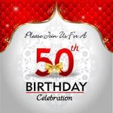 Fira 50 år födelsedag, guld- röd kunglig bakgrund Royaltyfri Fotografi