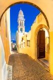 Fira, île de Santorini, Grèce : Église de cathédrale de saint John The Baptist photographie stock libre de droits