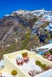 Fira, остров Santorini, Греция Традиционное и известное белое hou стоковое фото rf