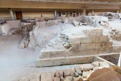 Руины и археологические раскопки в городке Fira стоковая фотография