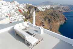 Fira. Aerial view of the city. Royalty Free Stock Photos