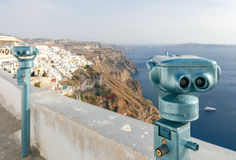 Fira. Aerial view of the city. Royalty Free Stock Images