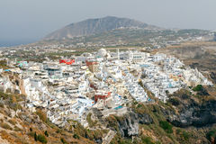 Fira. Aerial view of the city. Stock Photo