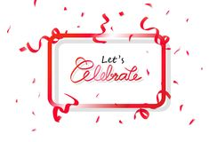 Fira banerramen med det röda konfettipartiet, garneringpapper och band som faller, abstrakt begrepp för kalligrafiberömfestival stock illustrationer