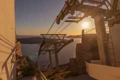 Fira cable car with sunset, Santorini, Greece.  Stock Image