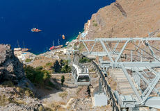 Fira. The cable car to the top. The cable car connecting the harbor and the old village Fira located on the top of rocks stock photography