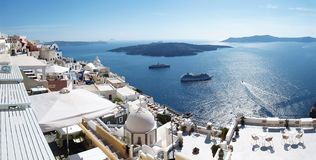 Fira caldera panorama Royalty Free Stock Photo