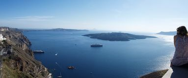 Fira caldera panorama. On santorini island. View of volcano royalty free stock photography