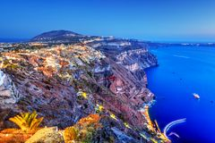 Fira, the capital of Santorini island, Greece at night Royalty Free Stock Images