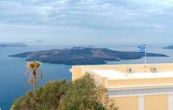 Fira. The capital of Santorini island in the Mediterranean Sea. Stock Photo