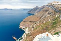 Fira. The capital of Santorini island. Stock Photo