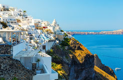 Fira capital of Santorini island and the view of volcanic caldera, Santorini, Greece Stock Photography