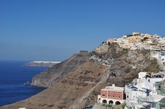 View of Thira Fira on the island of Santorini, Greece. in the background you can see the city of Oia Royalty Free Stock Photography