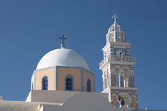 Fira catholic cathedral. The Roman Catholic Cathedral Church of St John the Baptist, in Fira, Santorini stock images