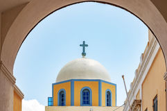 Fira Catholic Cathedral. The catholic cathedral situated in the capital town of fira on the greek island of santorini Stock Image