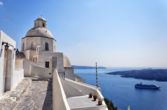 Fira church 06. An image of a church in the santorini capital town of fira royalty free stock photography