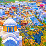 Fira Church Abstract Digital Painting. A digital painting of the santorini capital town of fira with landmark church in the foreground Royalty Free Stock Photos