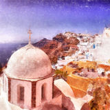 Fira church digital watercolor painting. A digitial watercolor painting of the santorini capital town of fira with landmark church in the foreground Stock Image