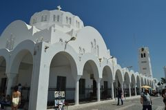 Fira Church With Its Pretty Arches On The Island Of Santorini. Travel, Cruises, Architecture, Landscapes. stock image