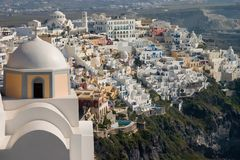 Fira and Church, Santorini. Royalty Free Stock Image