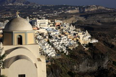 Fira, city in Greece island Santorini. Located on the vulcano rocks. These island belongs to Kyklades islans, some are still active vulcanos, with balck rosks Stock Photography