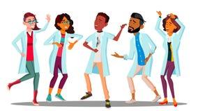 Fira dagen för doktor som s dansar gruppen av lyckliga doktorer vektor Isolerad tecknad filmillustration vektor illustrationer