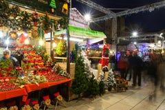 Fira de Santa Llucia - mercado de la Navidad Barcelona imagen de archivo