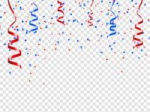 Fira den festliga designen för feriepartiet med konfettier, band på genomskinlig bakgrund stock illustrationer